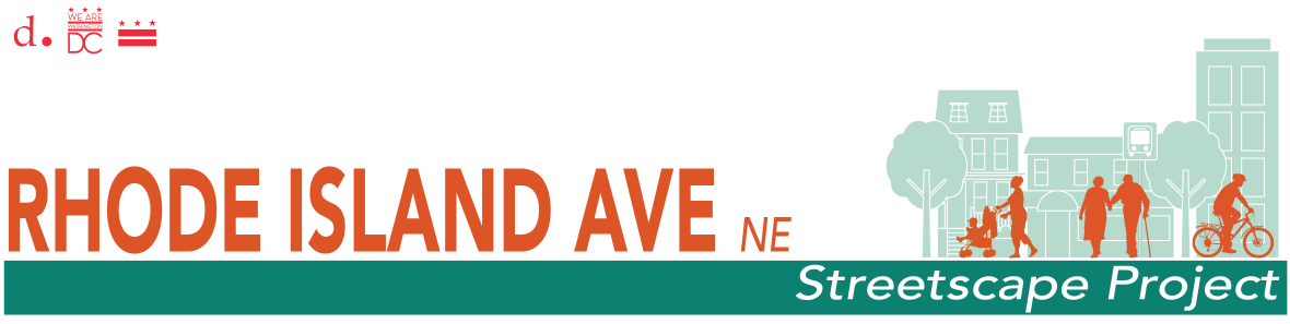 Logo for the Rhode Island Avenue Streetscape Design project. It shows a cross section of the street with iconography of Rhode Island Avenue businesses, homes, and other buildings in the background with people in the foreground walking, a mother with a stroller, and senior citizens.