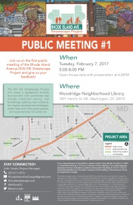 The image is a poster to advertise for Public Meeting #1. The top graphic is a mural from Rhode Island Avenue NE that depicts two women in the city. The middle image is a map of Rhode Island Avenue NE showing the project area between 4th Street NE and Eastern Avenue. The map also identifies the Rhode Island Avenue Metro Station and public parks. At the bottom there is a logo for DDOT which is a D and a period, the We are DC logo, and the logo of the DC flap which is three stars across and two bars underneath. Join us on the first public meeting of the Rhode Island Avenue (RIA) NE Streetscape Project and give us your feedback! The RIA NE Streetscape Project will create a pedestrian friendly environment with amenities that include enhanced paving, site furnishings, lighting improvements, low impact development strategies, street trees and other green spaces, and opportunities for public art. The public meeting is Tuesday, February 7, 2017 5:00-8:00 PM. Open-house style with presentation at 6:30PM. Where: Woodridge Neighborhood Library, 1801 Hamlin St. NE, Washington, DC 20018. STAY CONNECTED! The project manager is Aidin Sarabi. His number is 202-671-4576. The project email is RhodeIslandAveDesign@gmail.com. The project website is RIAveStreetscape.com. The twitter handles is @wemovedc. If you need special accommodations, please contact Cesar Barreto at (202) 671-2829 or Cesar.Barreto@dc.gov 72 hours in advance of the meeting. If you need language assistance services (translation), please contact Karen Randolph at 202-671-2620 or Karen.Randolph@dc.gov five days in advance of the meeting. These services will be provided free of charge. The District Department of Transportation (DDOT) is committed to ensuring that no person is excluded from participation in, or denied the benefits of, its projects, programs, activities, and services on the basis of race, color, national origin, gender, age, or disability as provided by Title VI of the Civil Rights Act of 1964, the Americans with Disabilities Act and other related statutes. In accordance with the D.C. Human Rights Act of 1977, as amended, D.C. Official Code sec. 2-1401.01 et seq. (Act), the District of Columbia does not discriminate on the basis of actual or perceived: race, color, religion, national origin, sex, age, marital status, personal appearance, sexual orientation, gender identity or expression, familial status, family responsibilities, matriculation, political affiliation, genetic information, disability, source of income, status as a victim of an intrafamily offense, or place of residence or business. Sexual harassment is a form of sex discrimination which is prohibited by the Act. In addition, harassment based on any of the above protected categories is prohibited by the Act. Discrimination in a violation of the Act will not be tolerated. Violators will be subject to disciplinary action.